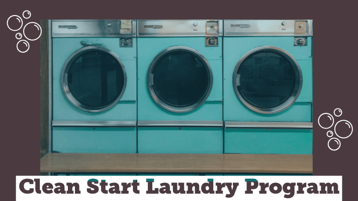 "3 washing machines with the caption ""Clean Start Laundry Program"" and icons of bubbles"