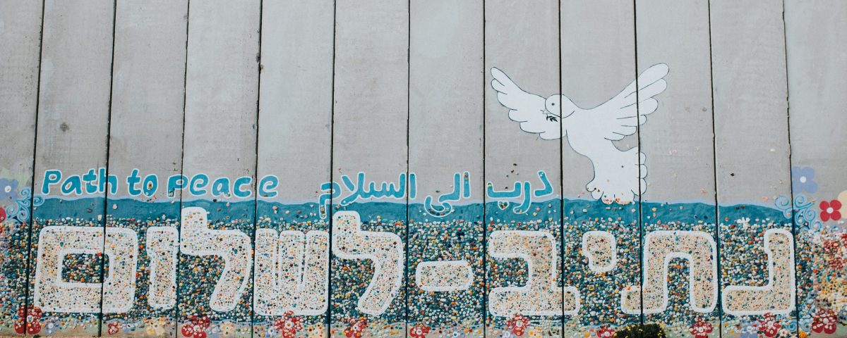 "graffiti on an alley wall with a white dove and ""shalom"" written in Hebrew"