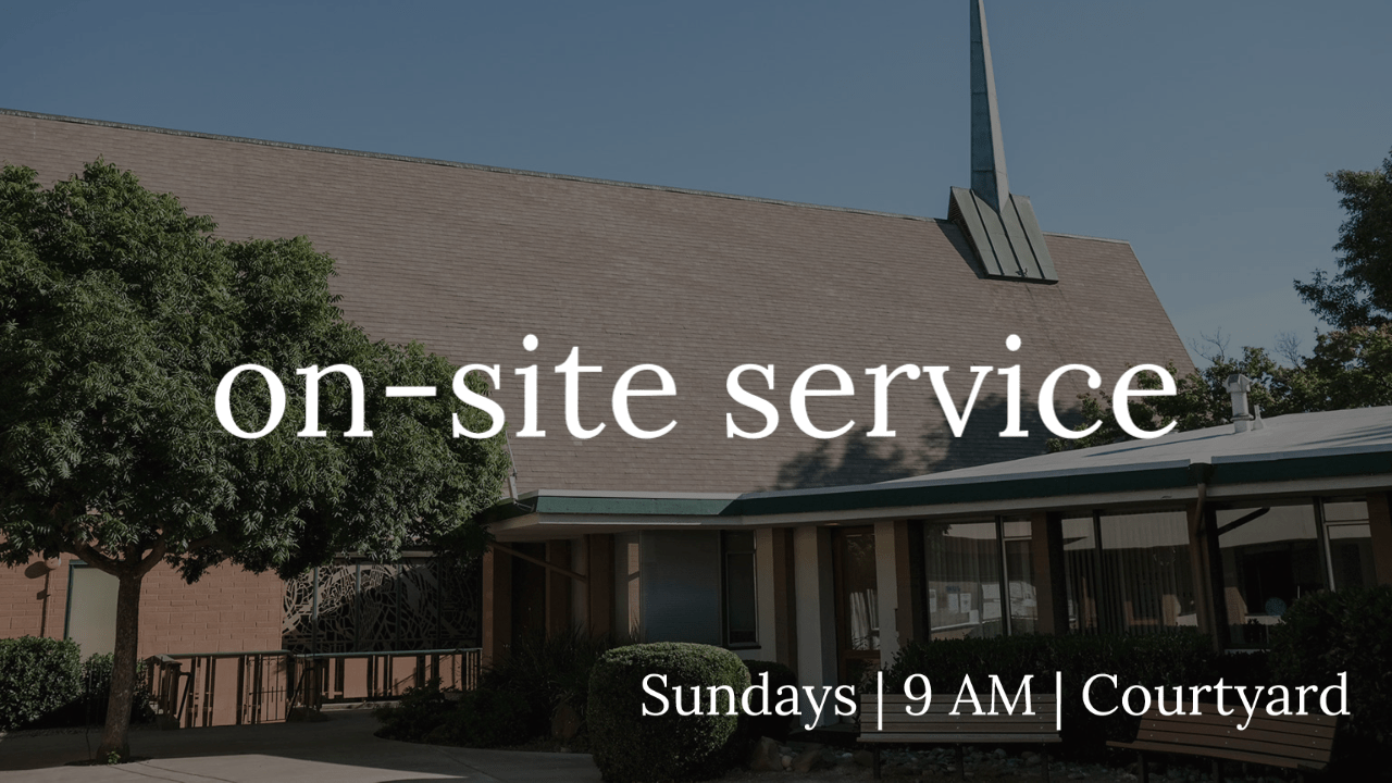 "a view of the fpcc sanctuary and offices from the courtyard with the text ""on-site service, Sundays 