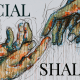 """a sketch drawing of two hands reaching toward each other, reminiscent of Adam and God in Michaelangelo's fresco """"The Creation of Adam"""" with the text """"Social Shalom"""""""