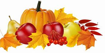 graphic of pumpkin and apples with fall leaves