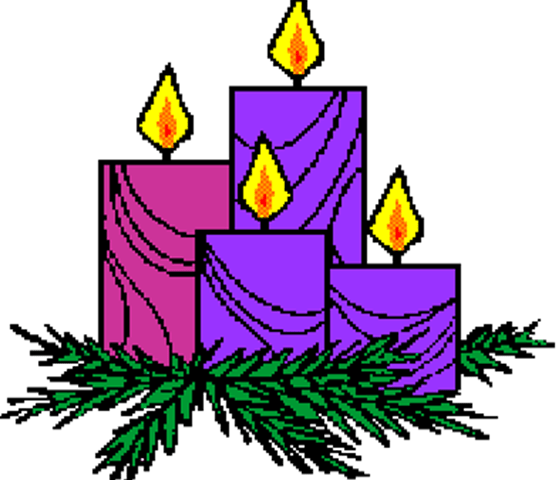 a graphic of three purple and one pink candles, lit, with greenery