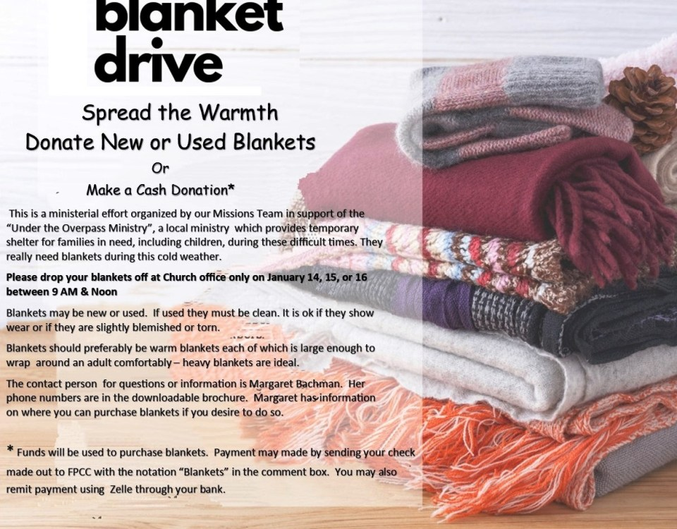 a stack of folded blankets atop an elongated messy heart logo with the text of the blog post superimposed on top