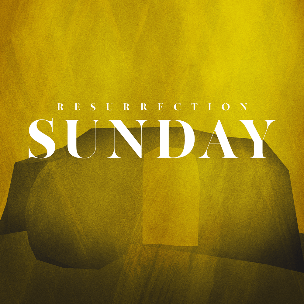 """the outline of an empty tomb in gradients of yellow with the text """"Resurrection Sunday"""""""