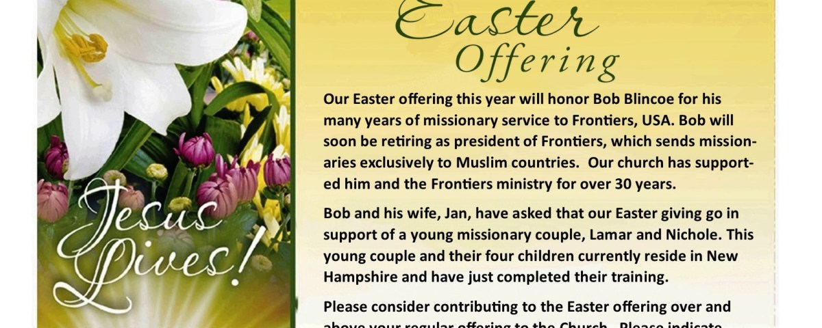 A lily on the left and on the right the text: Easter offering