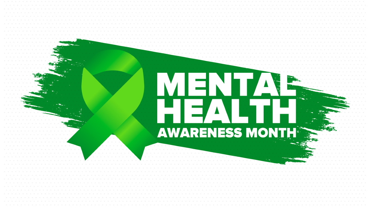 """a green ribbon and the text """"Mental Health Awareness Month"""" against a green paint swipe on a white background"""