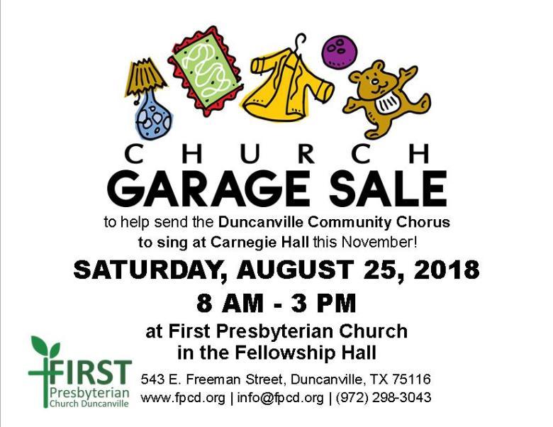 PW Garage Sale – First Presbyterian Church Duncanville