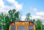 First day of school bus