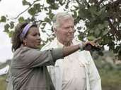 """Former actor Karlheinz Böhm, who has been running Ethiopia's """"People for People"""" aid for 28 years, and wife Almazs, visit the """"Sheikh Abdi Erosion Trench"""" reforestation project in Ethiopia (photo taken in 2006)."""