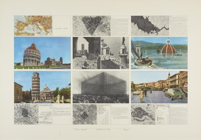 Salvataggi dei Centri Storici - Italia Vostra, 1972. Dessin, 91/100, Lithographie, 70 x 100 cm. Dépôt Archive Superstudio, Florence