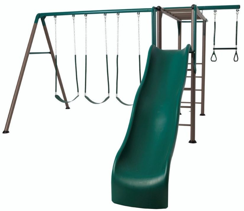 Lifetime-Monkey-Bar-Adventure-Swing-Set-with-9-Foot-Wavy-Slide