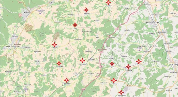 Karte mit Mitglieder