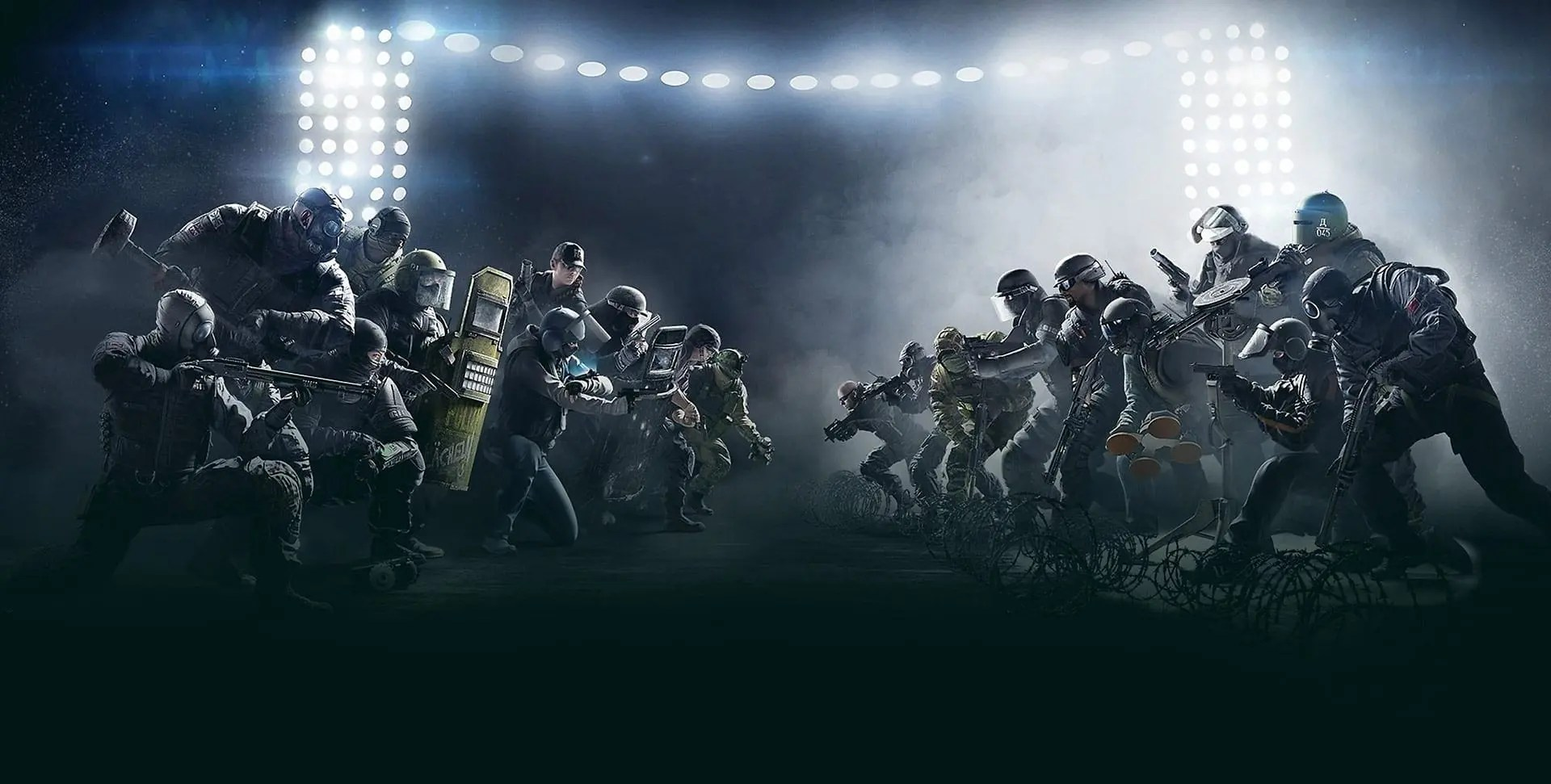 A promotional image featuring game characters from Rainbow Six Siege