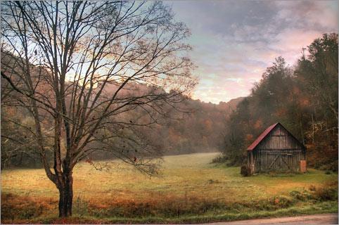 October Blue Ridge Virginia Pasture Scene