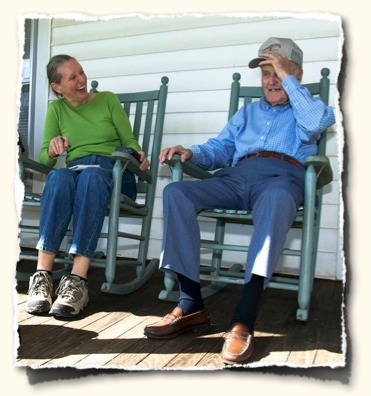 Mary Bishop and Mr. Osborne on the homeplace front porch, Oct 08