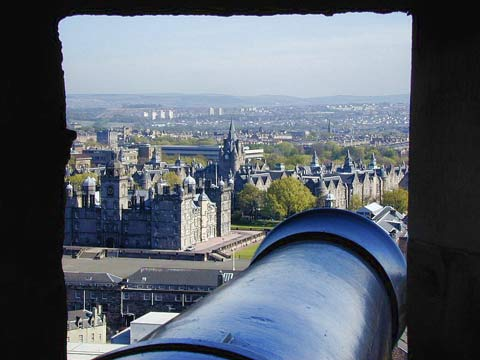View through the cannon turrets at the Castle.