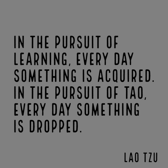 In the pursuit of learning, every day something is acquired. In the pursuit of Tao, every day something is dropped.  Less and less is done