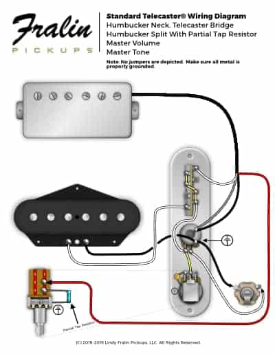 fender telecaster wiring diagram 2003 f250 radio lindy fralin diagrams guitar and bass with neck humbucker partial tap split 4 way switch
