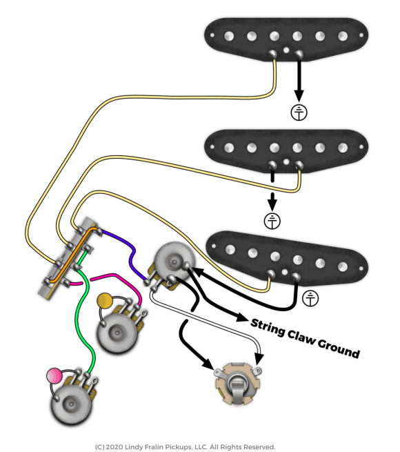 Fender Stratocaster Wiring Diagram with Middle & Bridge Tone