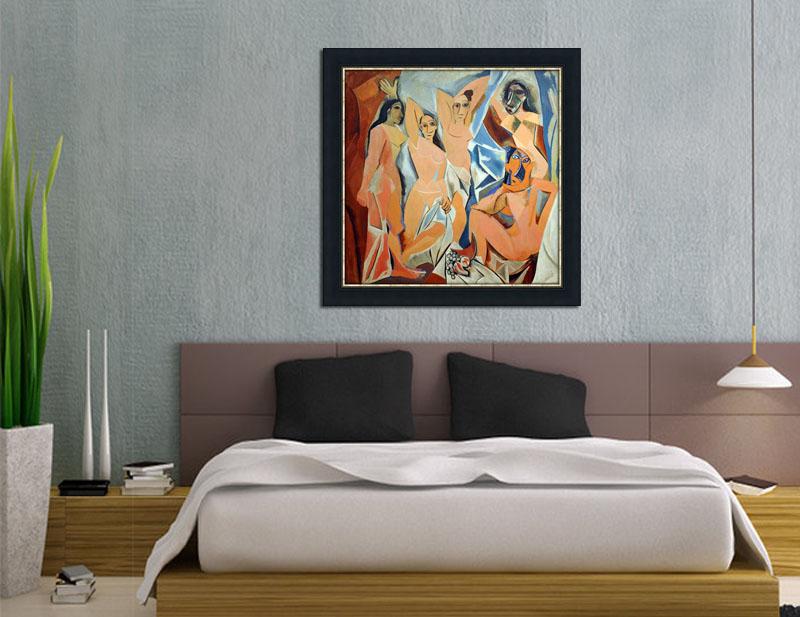 Les Demoiselles DAvignon Framed Canvas Art