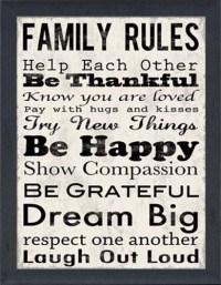 Family Rules II - Framed Canvas Art