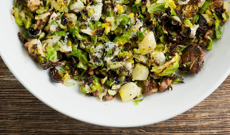 Chopped Brussels Sprouts with Feta Cheese