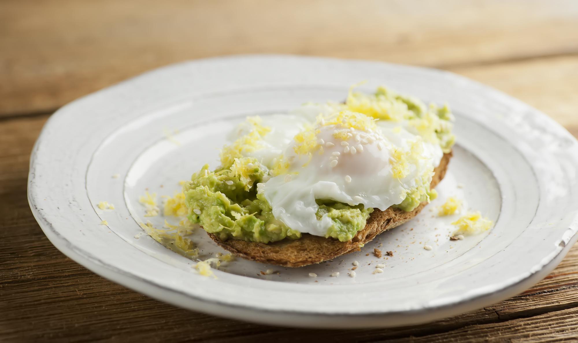 lemon avocado toast with a poached egg