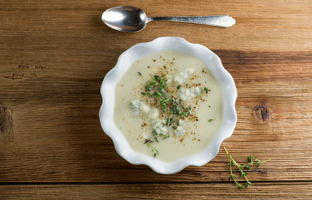 Blue Cheese Cauliflower Pear Soup
