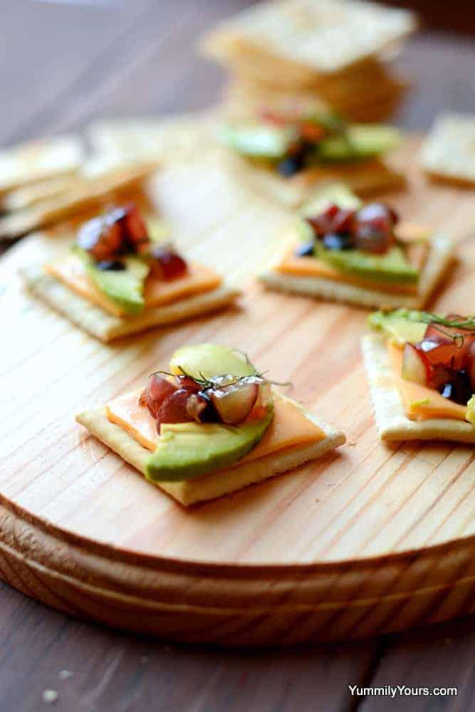 Avocado Cheese Cracker Bruschetta - Prashanthi