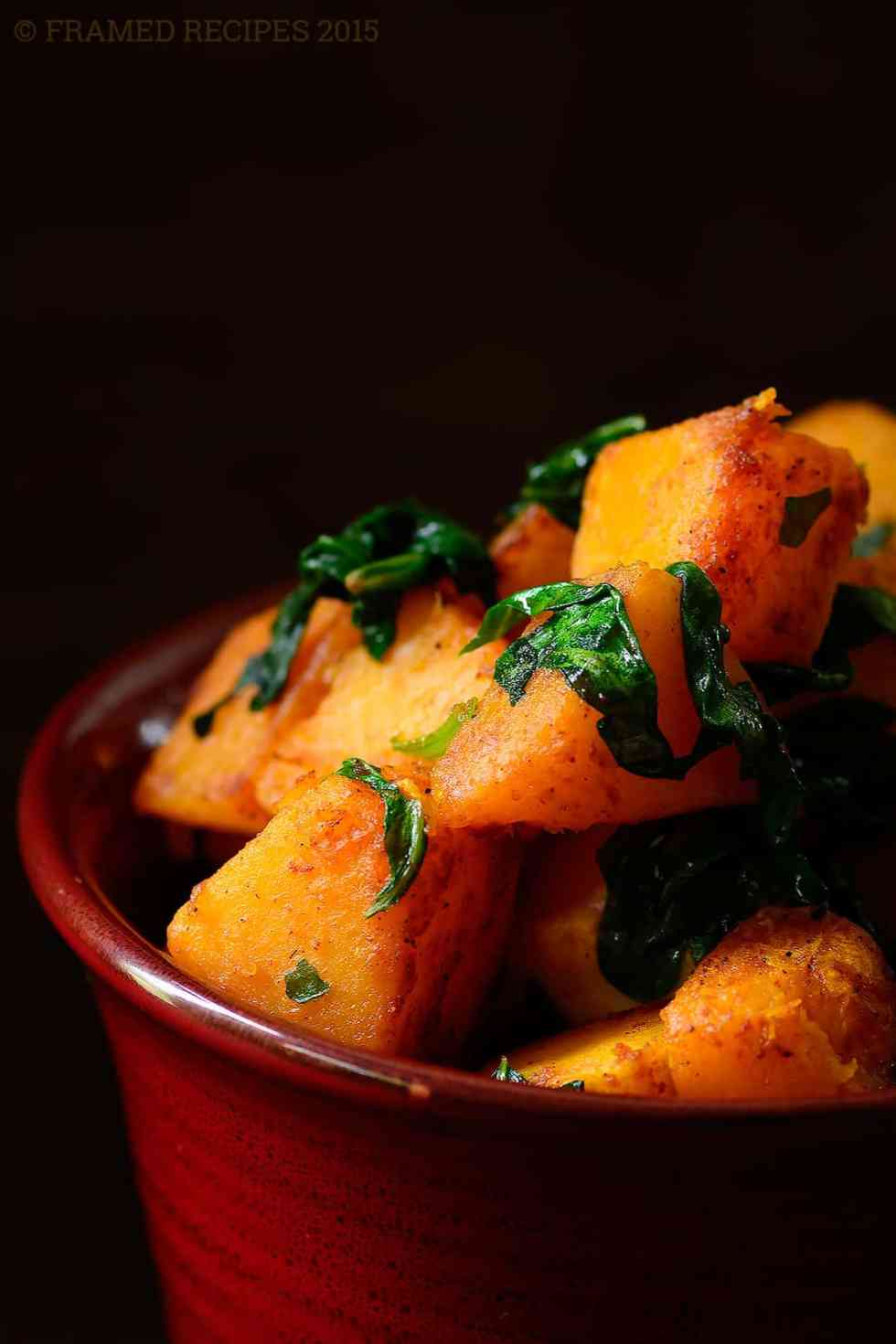 pan roasted butternut squash with spinach