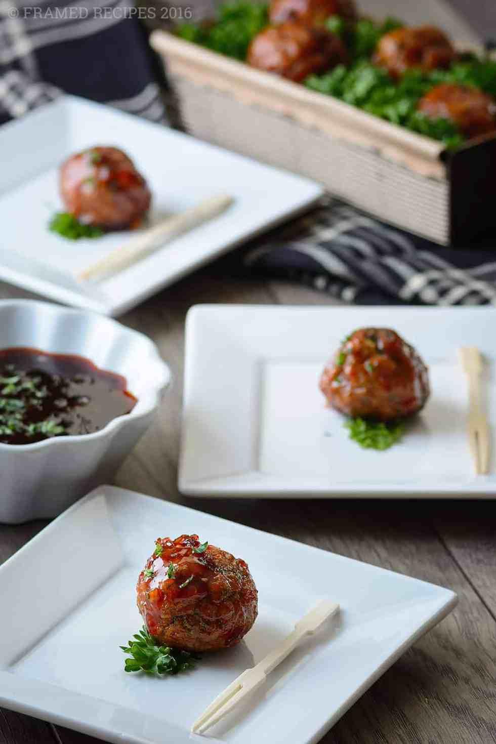 Baked Turkey Meatballs with Spicy Brown Sugar Glaze