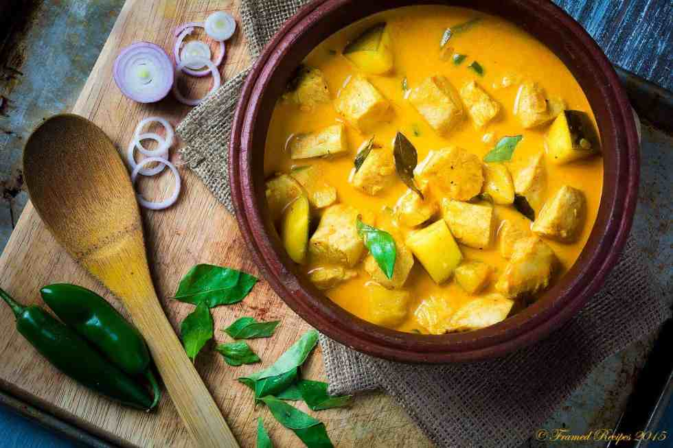 fish curry with coconut milk in Kerala style preparation.