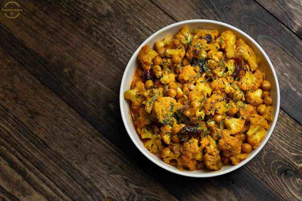 cauliflower and chickpeas curry with coconut milk.