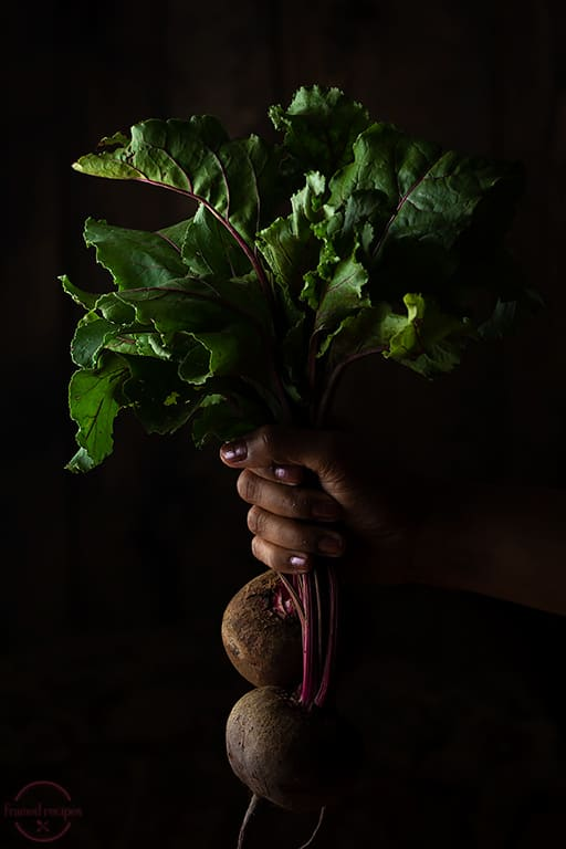 fresh beetroot with leaves.