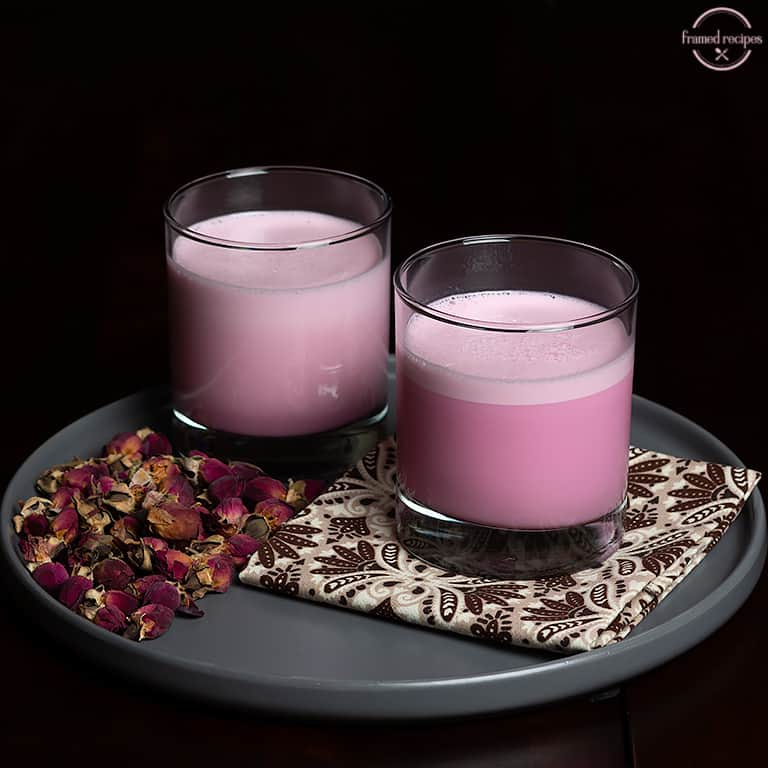 two glasses of delicious rose milk.