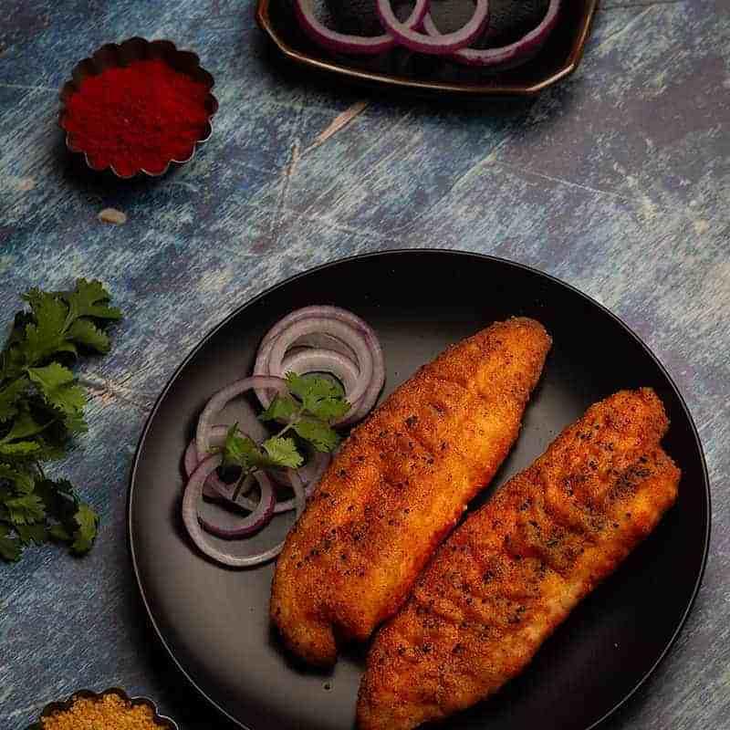pan seared tilapia with a rice flour spice mix