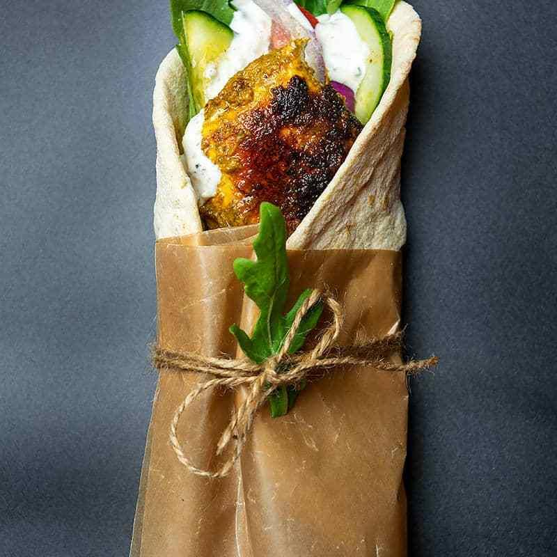 green chutney chicken wrap