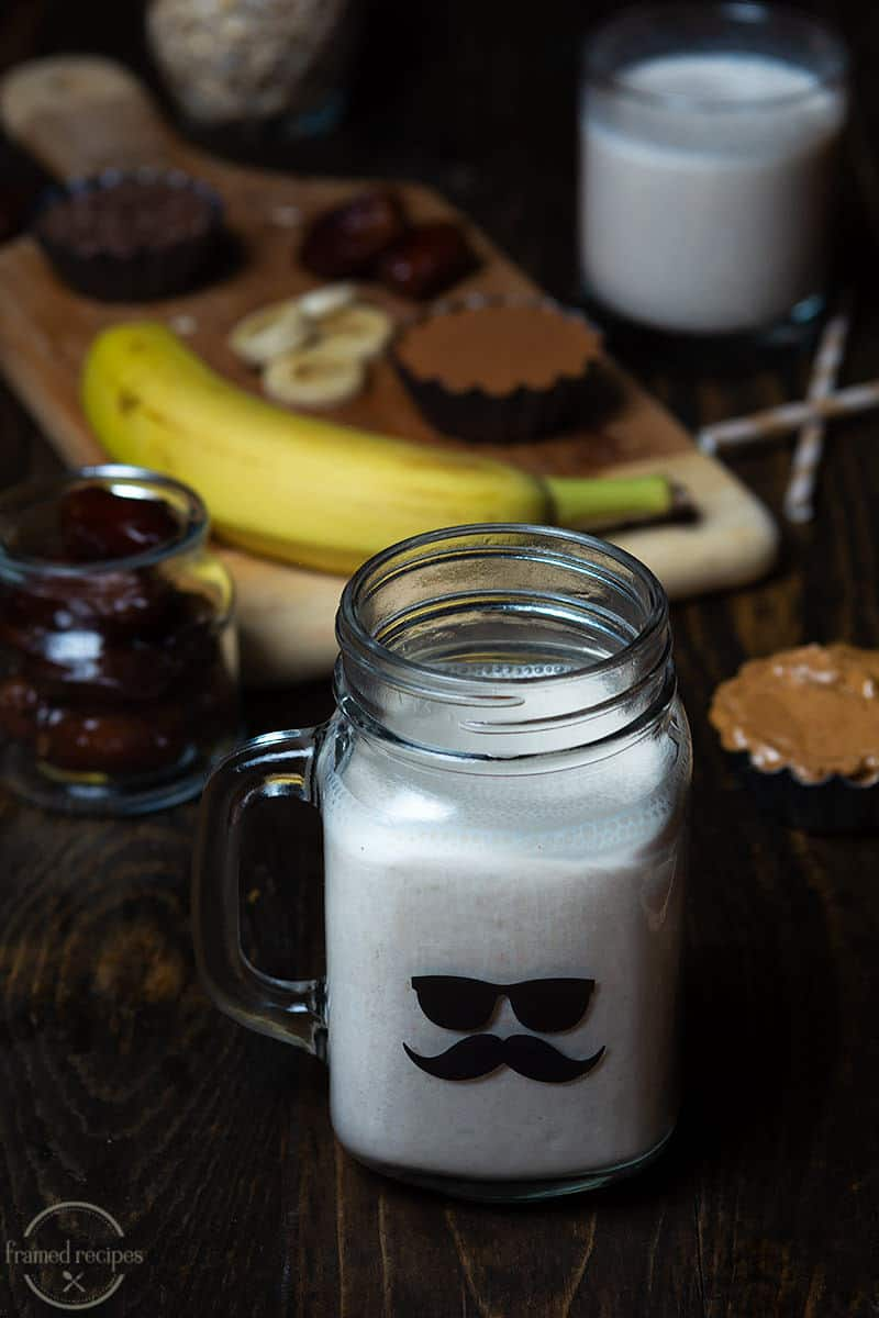peanut butter roasted banana smoothie with dates, oats and flax seeds.