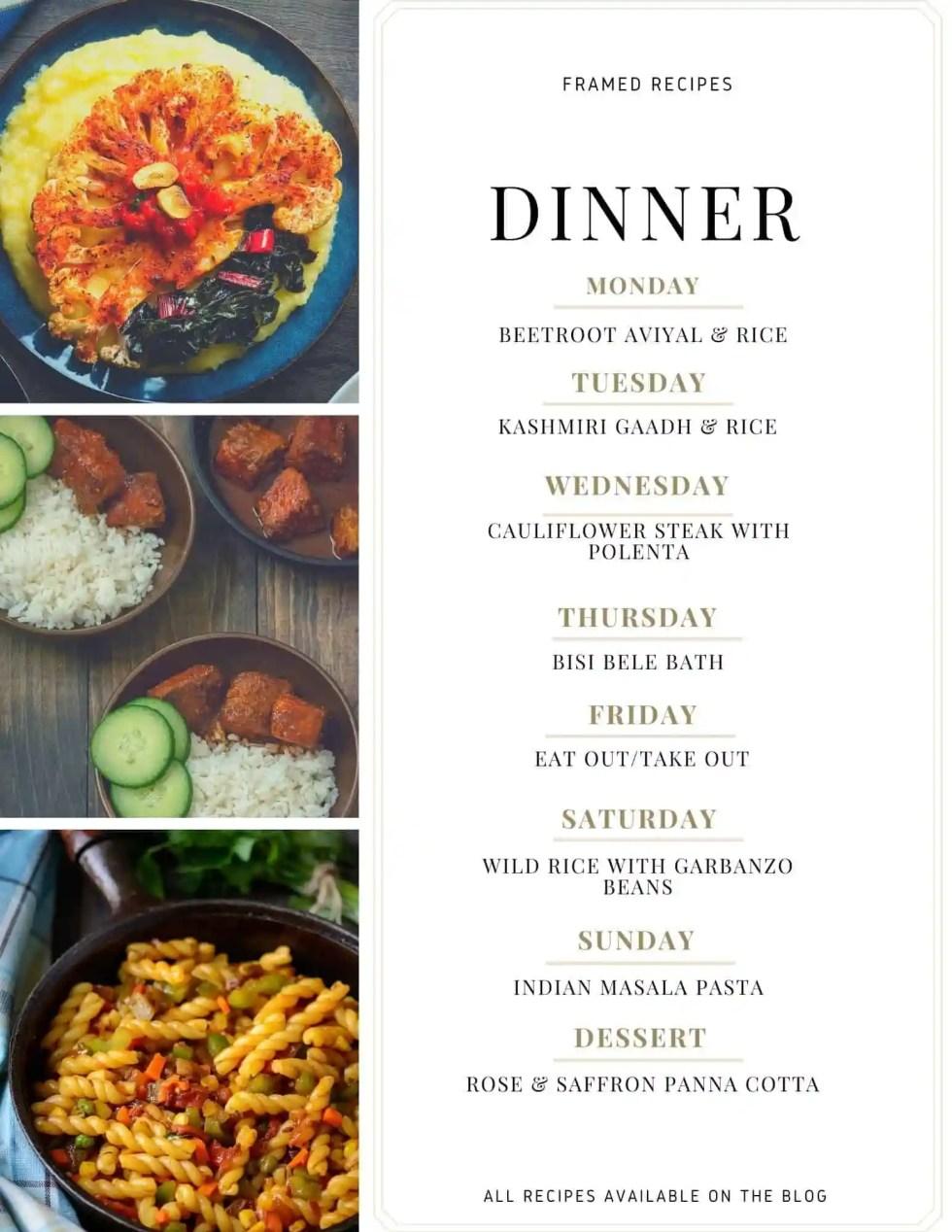 framed recipes week meal plan number 2