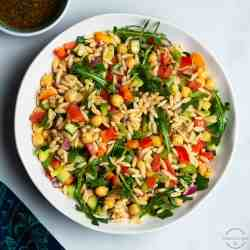 orzo salad with garbanzo beans and fresh vegetables