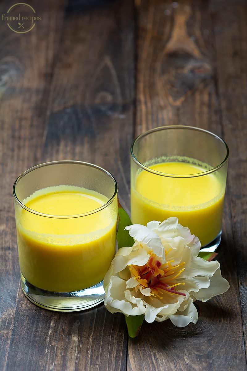 two glasses of turmeric milk