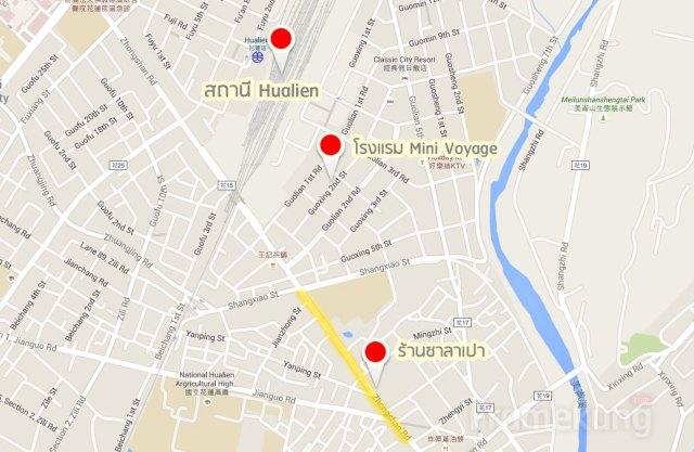 ถนนที่เป็นแหล่งร้านอาหาร เขียนว่า Zhongshan Rd. ในแผนที่ครับ (ผมไฮไลท์สีเหลืองๆไว้ให้) หากใครที่พักในตัวเมืองแนะนำโซนนี้ครับ แต่ที่นี่ก็มีตลาดกลางคืนเช่นกัน ที่โรงแรมบอกว่าต้องนั่งแท็กซี่เข้าไปอีกครับ