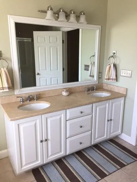 before and after: customer bathroom in las vegas | frame my mirror