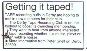 Derby Tape Club advert