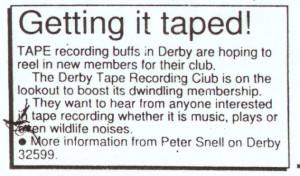 Derby Tape Club advert