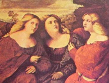 Le tre sorelle: Palma il Vecchio 1520 Dresda Gemaldegalerie