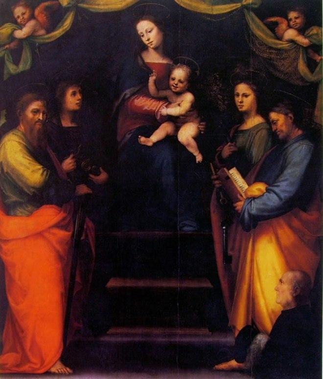 Mariotto Albertinelli: Madonna col Bambino, i santi Paolo, Michele, Apollonia, Pietro e il donatore