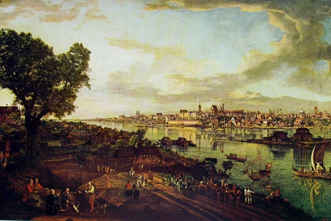 Bellotto: Varsavia - la vistola al castello reale dal sobborgo di Praga