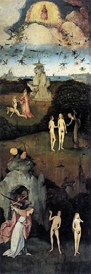 """Hieronymus Bosch: Anta sinistra: """"Il peccato originale"""""""