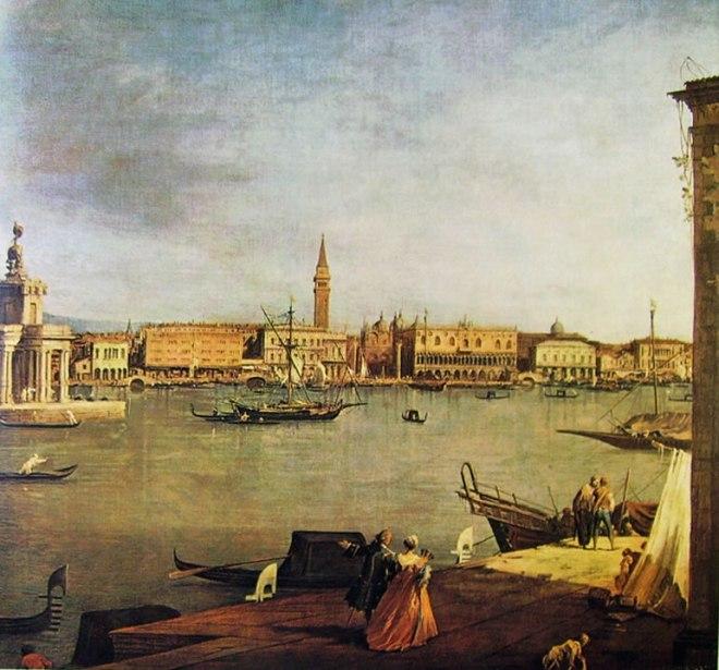 Il Canaletto: Il bacino di San Marco con la dogana dalla punta della Giudecca